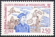 St Pierre & Miquelon 1992 Baron l'Esperance/ Settlers/ Soldier/ Map/ People 1v (n41444)