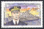 St Pierre & Miquelon 1996 Levasseur/ Ships/ Navy/ Nautical/ Boats/ Military/ People 1v n41456