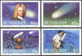 St Vincent 1986 Halley's Comet/ Space/ Astronomy/ Science/ Telescope 4v set (n15738)