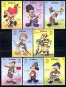 St Vincent 1990  Disney/ Military Uniforms/ Army/ StampEx/ Cartoons/ Animation  8v set (d00131)