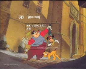 St Vincent 1991 Disney/ ILY/ Prince/ Pauper/ Films/ Cinema/ Animation/ Cartoons 1v m/s (ad1033)