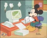 St Vincent 1998  Disney/ Mickey 70th/ Computer/ Internet/ Cartoons/ Animation  1v m/s (ad1139)