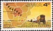 SWA 1974 Thirstland Trek/ Ox Wagons/ Oxen/ Map/ Settlers/ Cattle/ History/ Transport 1v (n19980)