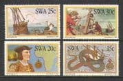 SWA 1982 Ships  /  Birds  /  Snake  /  Map  /  Dias 4v set (n19990)