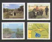 SWA 1986 Caprivi Strip  /  Map  /  Boats  /  Cattle 4v set (n19978)