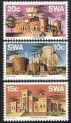 SWA  /  South West Africa 1976 Castles  /  Forts  /  Buildings  /  Architecture 3v set (sw10103)