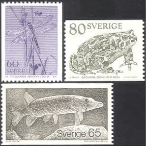 Sweden 1979 Dragonfly/ Pike/ Toad/ Fish/ Insects/ Animals/ Nature/ Wildlife/ Dragonflies/ Conservation/ Amphibians 3v set coil (n24291)