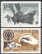 Sweden 1979 Europa/ Communications/ Sledge Boat/ Morse Key/ Telecomms/ Postal Transport/ Sailing 2v set coil (n43518)