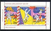 Sweden 1987 Circus  /  Clowns  /  Horse  /  Trapeze  /  Animation 3v bkt pane (n33861)