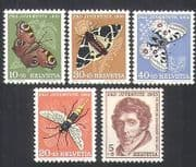 Switzerland 1955 Butterflies  /  Moths  /  Fly  /  Insects  /  Nature  /  People  /  Welfare 5v (b5258)