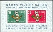 """Switzerland 1959 """"NABAG"""" Philatelic Exhibition/ StampEx/ Post Horn/ Coat-of-Arms imperforate m/s (n44392)"""