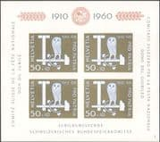 Switzerland 1960 Pro Patria Charity 50th Anniversary/ Owl/ Builders Tools/ Welfare Fund imperforate m/s (n45282d)