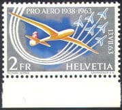 Switzerland 1963 Glider/ Planes/ Aircraft/ Aviation/ Transport/ Sports 1v (n41463)