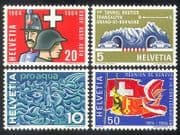Switzerland 1964 Military  /  Uniforms  /  Cars  /  Tunnel  /  Transport  /  Water  /  Flags 4v (n38696)