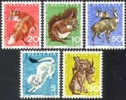 Switzerland 1966 Fox/ Squirrel/ Hare/ Deer/ Animals/ Welfare Fund/ Nature 5v set (n41465)