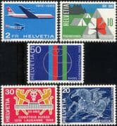 Switzerland 1969  Publicity Issue/ Planes/  Horse/ Astronomy/ Guides/ Girl Scouts/ Aviation/ Transport 5v set (n28576)