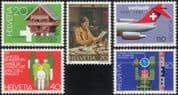 Switzerland 1981 Albert Anker/ Art/ Artist/ Building/ Architetcture/ Plane/ Transport/ Disabled/ Health/ Welfare 5v (n45417)