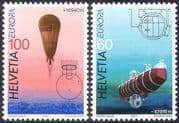 Switzerland 1994 Europa/ Balloon/ Submarine/ Transport/ Piccard/ Science 2v set (n41468)