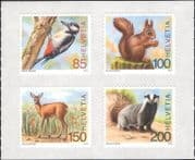 Switzerland 2018 Woodpecker/ Badger/ Squirrel/ Deer/ Wildlife/ Birds/ Nature 4v s/a set (ch1053)