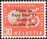 Switzerland (ILO) 1969 Papal Visit/ Pope Paul VI/ Surcharge/ Overprint/ People 1v (ch1046)