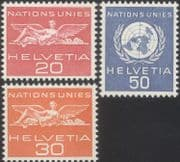 Switzerland (UN Offices) 1959 United Nations/ Definitives/ Statue 3v set (b7500b)