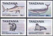 Tanzania 1993  Whale/ Shark/ Seal/ Walrus/ Marine Animals/ Nature/ Wildlife  4v set (b6002e)