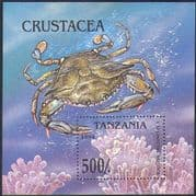 Tanzania 1994 Atlantic Blue Crab/ Animals/ Wildlife/ Marine/ Conservation/ Nature 1v m/s (b5509)