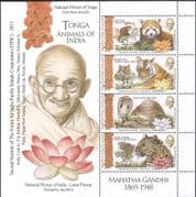 Tonga 2015 FIPIC/ Gandhi/ Tiger/ Leopard/ Cobra/ Snakes/ Red Panda/ Nature/ Animals 4v m/s (b4932a)