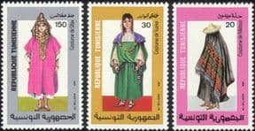 Tunisia 1987 Costumes/ Clothes/ Design/ Weaving/ Textiles/ People 3v set (n46168)