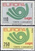 Turkey 1973 Europa/ CEPT/ Communication/ Posthorn/ Arrows/ Animation 2v set (ex1052)