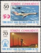 Turkey 1983 Aviation/ Planes/ Aircraft/ Airline/ Airport/ Buildings/ Commerce/ Business/ Transport 2v set (n44892)
