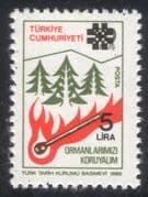 Turkey 1983 Forest Fires Prevention/ Trees/ Fire/ Flames/ Plants/ Nature 1v surcharge o/p (n44895)