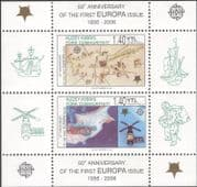 Turkish Cyprus 2006 Europa Stamps 50th/ Space/ Satellite/ Maps/ Ships/ Transport 2v m/s (b340b)