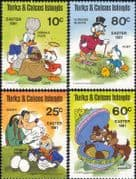 Turks & Caicos 1981 Disney/ Easter/ Donald/ Goofy/ Chip 'n Dale/ Cartoons/ Animation 4v set (b245k)