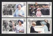 Tuvalu 1999 Queen Mother  /  Birthday  /  Royalty 4v set n27289