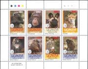 Uganda 1994  Chimpanzee/ Baboon/ Zebra/ Cheetah/ Dog/ Animals/ Wildlife/ Nature  8v m/s (s1032d)