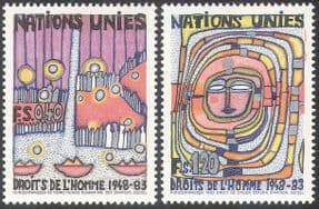 UN (G) 1983 Human Rights 35th/ Art/ Paintings/ Abstract/ Animation 2v set (n27789)