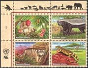 UN (G) 2002 Monkey/ Ratel/ Wild Cat/ Lizard/ Animals/ Nature/ Wildlife/ Endangered Species/ Conservation 4v blk (b7501)