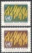 UN (NY) 1963 Food Programme/ Freedom From Hunger/ FAO/ FFH/ Wheat/ Crops 2v set (n41733)