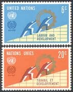 UN (NY) 1969 ILO 50th/ Workers/ People/ Animation/ Graphs/ Charts 2v set (n41720)