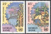 UN (NY) 1989 World Bank/ Money/ Business/ Commerce/ Trade/ Dams/ Hydro-Electricity/ Rice Farming/ Crops/ Food 2v set (n43018)