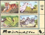UN (NY) 1999 Endangered Animals/ Wildlife/ Tiger/ Snake/ Birds/ Nature/ Conservation/ Cats/ Reptiles 4v blk (b7197)