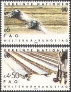 UN (V) 1984 World Food Day/ Tractors/ Farming/ Water/ Irrigation/ Crops/FAO/FFH 2v set (n27787)