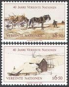 UN (V) 1985 UN 40th/ Horses/ Cart/ Farm/ Landscape/ Art/ Farming 2v set (n27792)