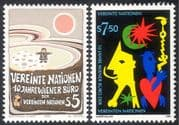 UN (V) 1989 Vienna Centre 10th Anniversary/ Abstract Art/ Cartoons 2v set (n43075)