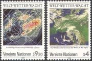 UN (V) 1989 World Weather Watch/ Satellite Images/ Maps/ Space Meteorology/ IMO/ WMO 2v set (n19333)