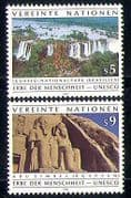 UN (V) 1992 Waterfalls  /  Abu Simbel  /  Statues  /  Carving  /  UNESCO 2v set (n29249)