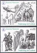 UN (V) 2005 Food for Life/ Hunger/ FAO/ Crops/ Helicopter/ Elephants/ Aviation/ Transport 2v set (n35075)