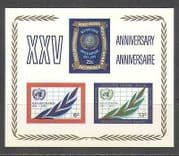 United Nations 1970 Map  /  Plant  /  UN 25th Imperf m  /  s n24335