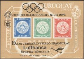 Uruguay 1972 Lufthansa/ Aviation/ Olympic Games/ Sport overprint imperforate m/s (n43531)